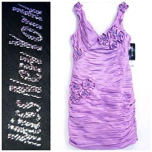 NWT MISS NEW YORK Lilac Ruched Sheath Dress